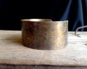 Etched Cuff Bangle Tribal Rocker Boho Bohemian Gypsy Color Green Teal Green Metal Cuff Womans Jewelry