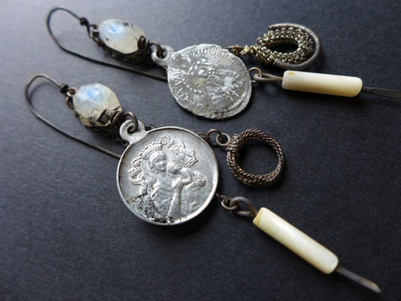 Acosmism. Mary medals drop dangles with moonstone, mop, wirework. Victorian tribal assemblage.