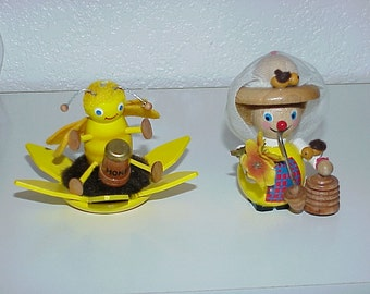 2--STEINBACH Wooden Figurines--Bumble Bee & Bee Keeper--Made In Germany