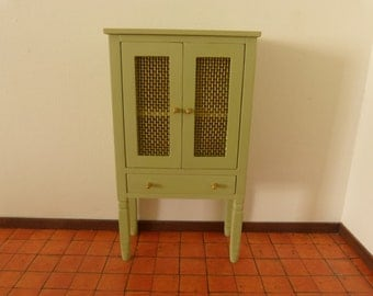 12th scale beautiful  cupboard with two door with real metal net