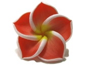 20mm Red Polymer Clay Plumeria Flower Beads set of 4 (P11)