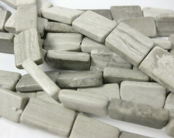 18mm Natural Gray and Cream Marble Rectangle Beads