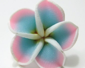 21mm Pink and Blue Polymer Clay Plumeria Flower Beads set of 4 (PO7)