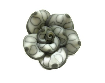 25mm Polymer Clay Rose Beads Set of Three (R06)