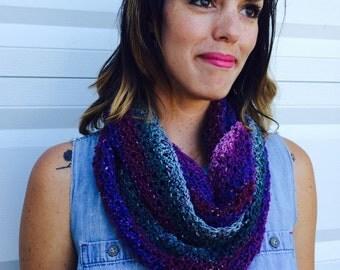 purple teal infinity scarf, handknit cowl, wool, silk