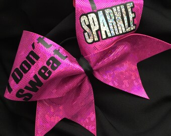 I Don't Sweat I Sparkle Pink Shattered Glass Hologram Cheerleader Metallic Cheer Hair Bow