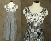 vintage 50s Dress - Black and White Gingham Sundress - 1950s Embroidered Lace Bust Plaid Dress Sz S