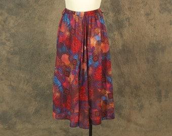 CLEARANCE Sale vintage 80s Skirt - Boho Tribal Paisley Skirt - 1980s Festival Midi Skirt Sz S