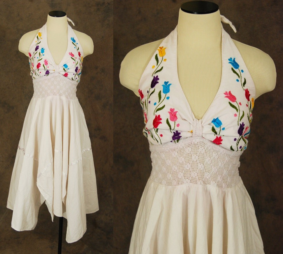 Vintage Mexican Halter Dress 1970s Embroidered Handkerchief