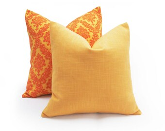 Solid Yellow Pillows, Melon Yellow Pillow Cover,  Pale Orange, Linen Textured Cushions, Contemporary Decorative Pillows, 12x18, 18x18, 20x20