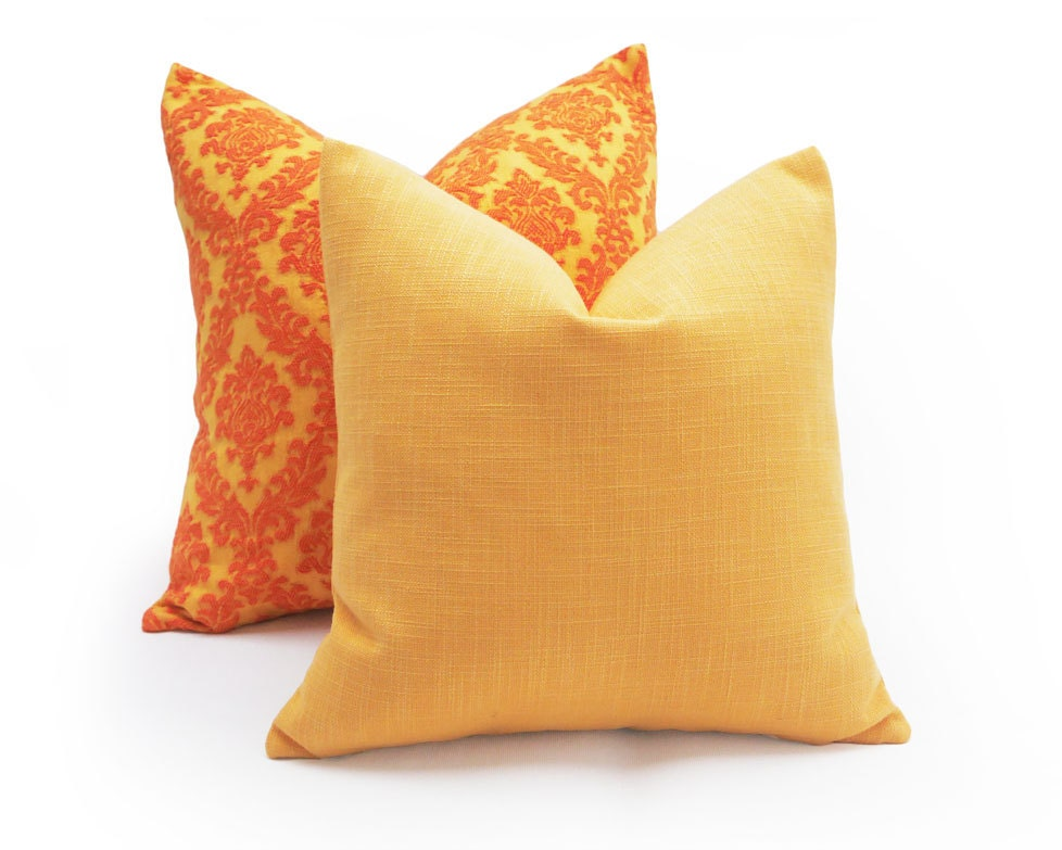 Pale Yellow Decorative Pillows : Solid Yellow Pillows Melon Yellow Pillow Cover Pale Orange