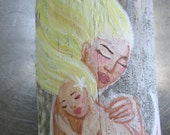 Mother's Day Gifts- Hand Painted Fantasy Mermaid Mom and Baby Wall Decor