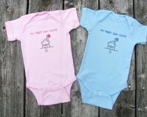 My First Day Home Twin baby bodysuits.  White Long Sleeve available
