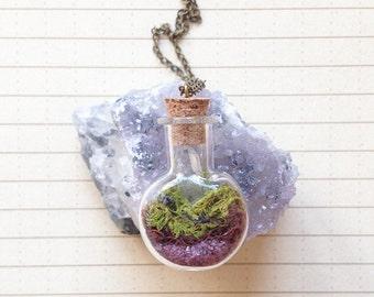 Terrarium Necklace with Northwest Garnet