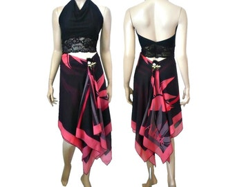 3 in 1 Aubade Red/Black Summer  Skirt / Dress / Pareo