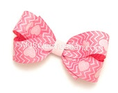 """Chevron Heart Bow, 3 inch Hair Bow, Sparkly Pink Chevron Hair Bow, 3.5"""" Boutique Bow, Glitter Hearts Bow for Baby, Toddler Girls"""