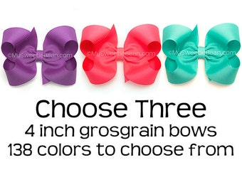"Grosgrain Hair Bows, Set of 3 Hair Bows for Girls, 4 inch Boutique Bows, 3 Pack of Hair Bows for Toddler Girls Pick Colors 138 Colors 4"" Bow"