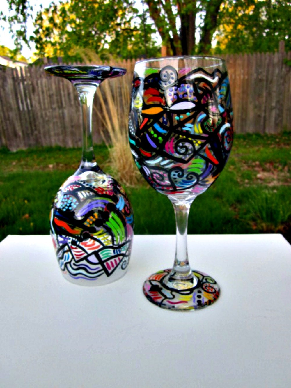 abstract wine glasses hand painted unique by glassgaloregal