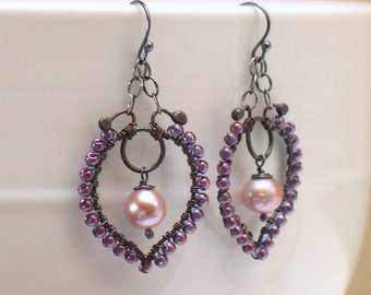 Pastel Mauve Pearl Dangles, Pearl Hoops Beaded with Czech Glass, Artisan Made Original Pastel Earrings, Prom Wedding Dressy Earrings