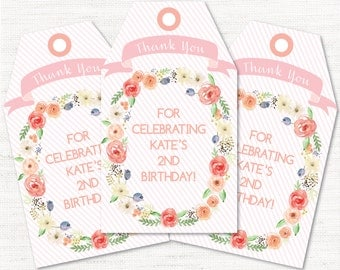 Baby Shower - Bridal Shower - Birthday Party - Floral - Garden Invitation Instant Download Editable Decor Party Favor Tags Goody Bag Tags