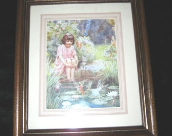 Vintage Framed Picture Little Girl A Cat and Faeries / Wall Decor