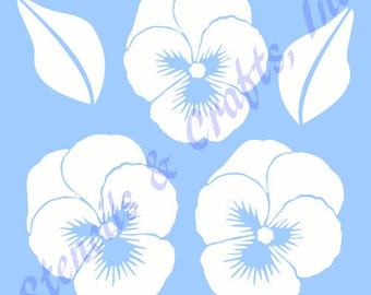 """PANSY FLOWER STENCIL pansies flowers leaf leaves stencils background pattern template templates craft scrapbook new 6"""" x 5"""" free shipping"""