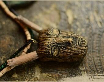 Wood spirit sleeping with leaves -  OOAK Handmade jewelry sculpt