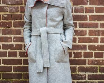 Raglan sleeve belted coat • Italian virgin merino boiled wool knit coat • Platinum grey knit with rust contrast