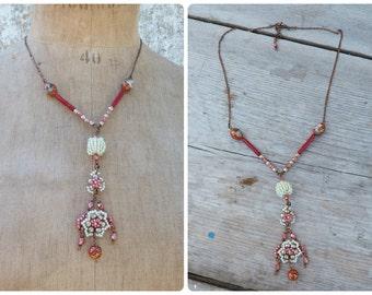 Orient rouge & turquoise /cloisonne bead pendant necklace