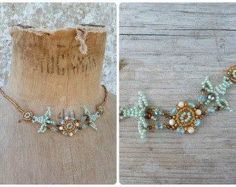 Turquoise doves  Handmade in France seed beads / beaded/beadwork necklace