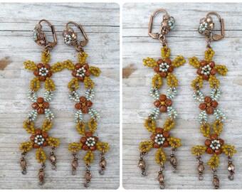 Pompoms mustard /turquoise Handmade in France  long dangles earrings  leverbacks