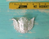 Small Cherub Head Furniture Applique, Shabby Chic Brown Distressable Onlay
