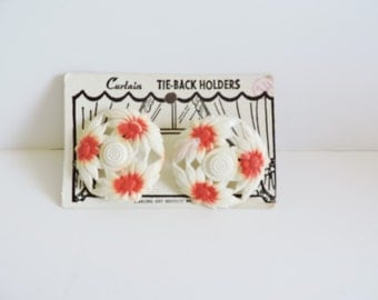 1940s Curtain Tacks, 1950s Curtain Tacks, Curtain Tie Backs, NOS Curtain Tacks, Kitchen Window Tacks