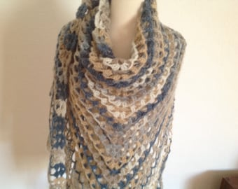 Crochet oversized shawl, light blue, light brown, beige shade, superb quality, soft and beautiful