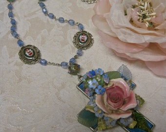 Sweet Surrender: Statement Cross Necklace Porcelain Rose Violets Pink Blue Vintage Assemblage Rosary Beads Micro Mosaics One of a Kind