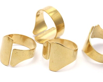 Brass Bohemian Ring, 5 Raw Brass Ring Settings (19mm) Bs-1345
