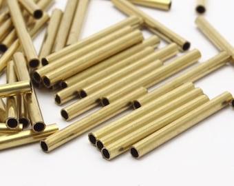 Brass Plain Tubes - 100 Raw Brass Tubes (2x20mm) Bs 1432