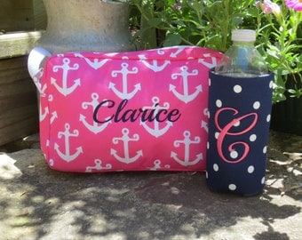 Hot Pink Anchor Accessory Bag with FREE personalization.  Nautical Cosmetic Bag.  Wet Suit Bag.