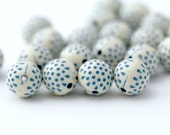 Blue Acrylic Polka Dot Beads Etched Round Cream Blue Beads 12mm (20)