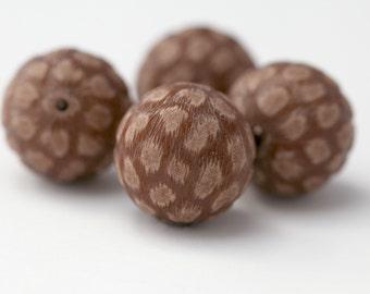 Vintage Beads Reddish Brown Textured Round Lucite 22mm (4)