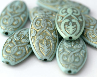 Pale Mint Green Gold Etched Acrylic Flat Oval Beads Carved 39mm (4)