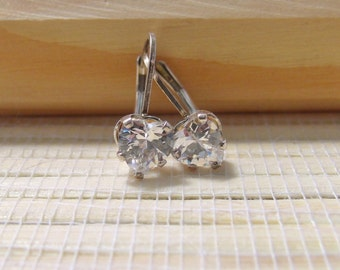 Cubic Zirconia Earrings Leverback Heart Sterling Silver April Birthstone 6mm On Sale