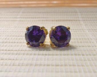 Cubic Zirconia Stud Earrings Goldplated Tanzanite 10mm On Sale