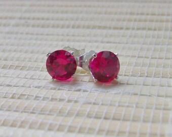 Ruby Stud Earrings Sterling Silver Lab created July Birthstone 6mm