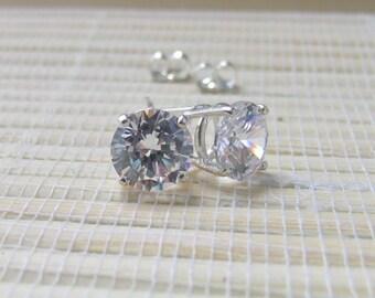 Cubic Zirconia Stud Earrings Sterling Silver April Alternate Birthstone 8mm On Sale
