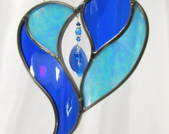 My Heart Belongs to the Sea  - Aqua Turquoise and Cobalt Blue with Sea Glass charm center beads