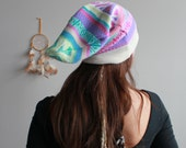 Colorful Boho Hippie Fair Isle Native Tribal Pattern Recycled Sweater Slouchy Tam Hat Beanie By MountainGirlClothing