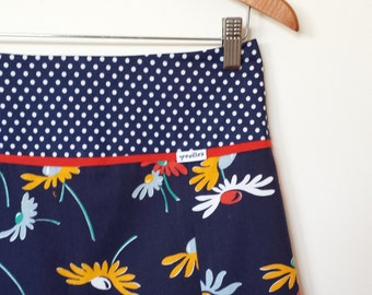 ON SALE...daisy and spots...vintage fabric A line skirt with yoke waistband