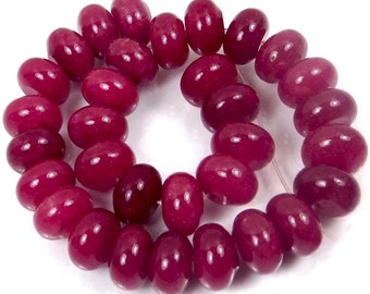 10x6mm Ruby Red Jade Rondelle Beads (30) (e7324)