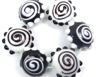 Lampwork Handmade Glass Black White Spiral Lentil Beads 20mm (L1183)